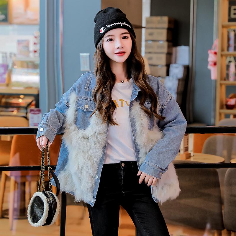 韓国 ファッション アウター ブルゾン 秋 冬 カジュアル PTXL552  デニム エコファー ドッキング オーバーサイズ オルチャン シンプル 定番 セレカジの写真3枚目
