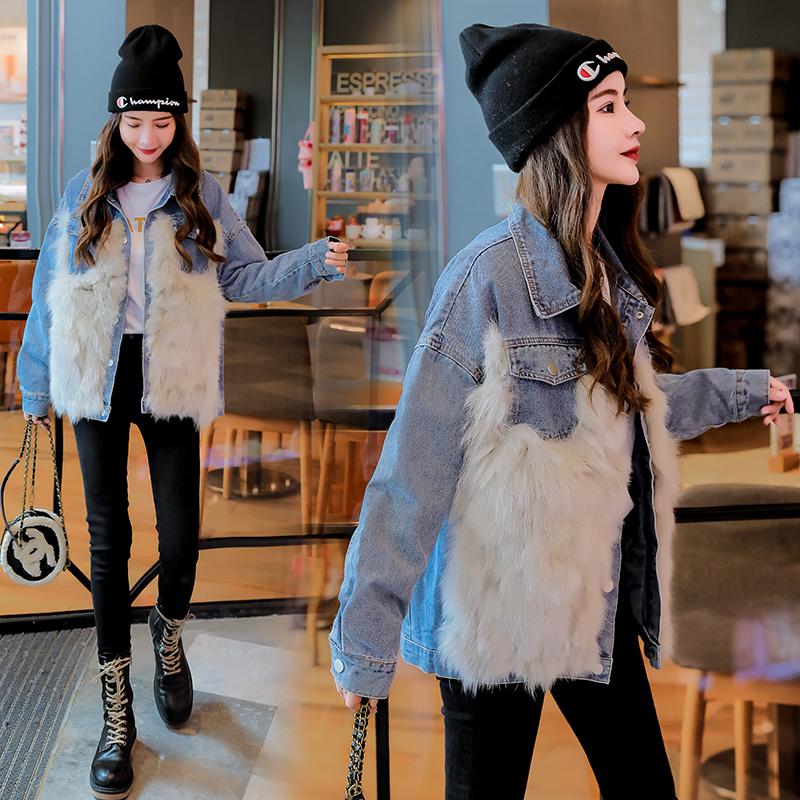 韓国 ファッション アウター ブルゾン 秋 冬 カジュアル PTXL552  デニム エコファー ドッキング オーバーサイズ オルチャン シンプル 定番 セレカジの写真5枚目