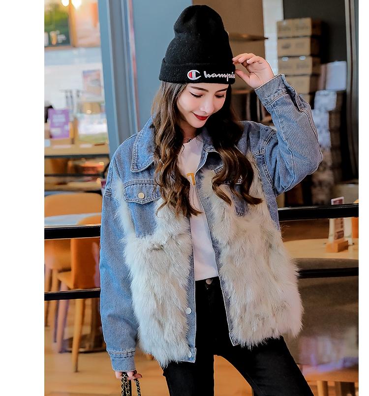 韓国 ファッション アウター ブルゾン 秋 冬 カジュアル PTXL552  デニム エコファー ドッキング オーバーサイズ オルチャン シンプル 定番 セレカジの写真8枚目