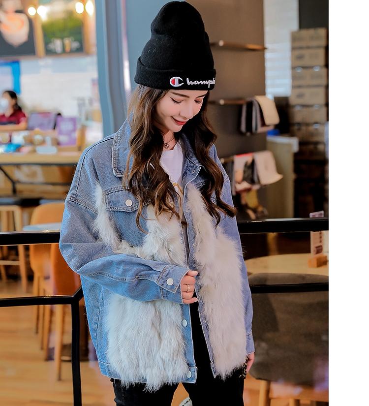韓国 ファッション アウター ブルゾン 秋 冬 カジュアル PTXL552  デニム エコファー ドッキング オーバーサイズ オルチャン シンプル 定番 セレカジの写真10枚目