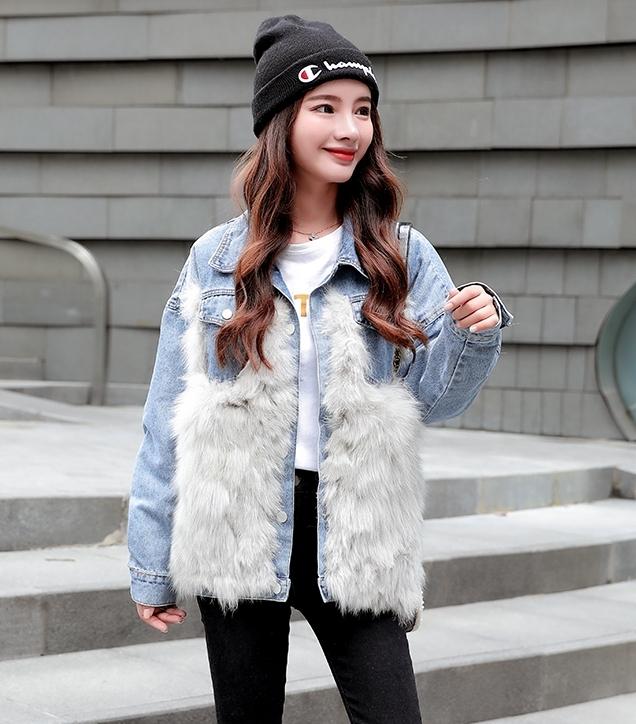 韓国 ファッション アウター ブルゾン 秋 冬 カジュアル PTXL552  デニム エコファー ドッキング オーバーサイズ オルチャン シンプル 定番 セレカジの写真12枚目