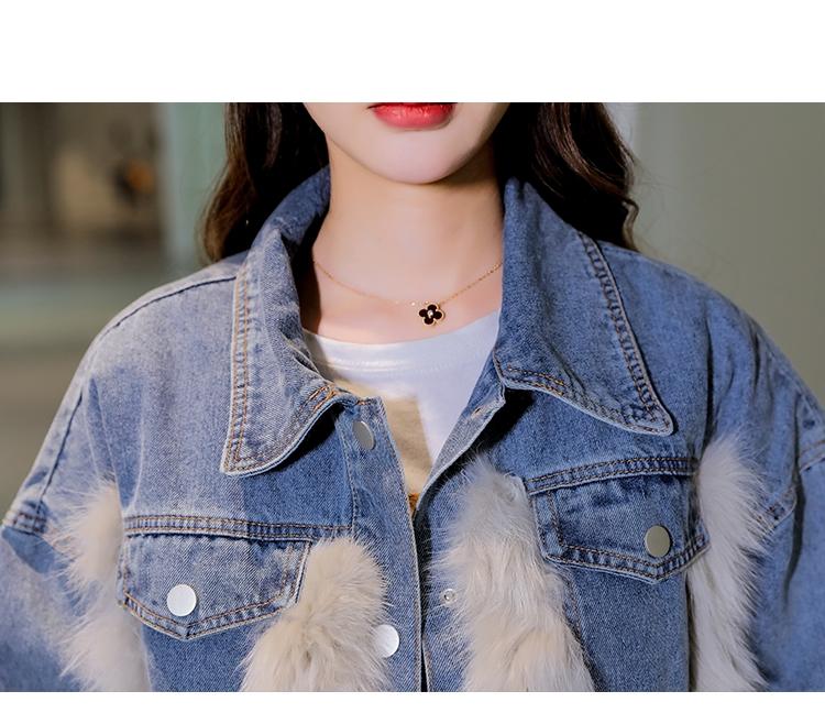 韓国 ファッション アウター ブルゾン 秋 冬 カジュアル PTXL552  デニム エコファー ドッキング オーバーサイズ オルチャン シンプル 定番 セレカジの写真13枚目