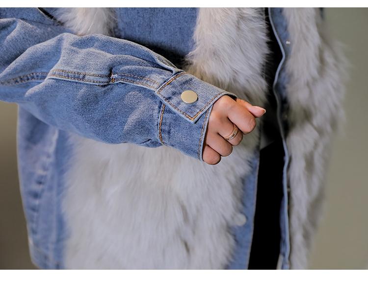 韓国 ファッション アウター ブルゾン 秋 冬 カジュアル PTXL552  デニム エコファー ドッキング オーバーサイズ オルチャン シンプル 定番 セレカジの写真14枚目