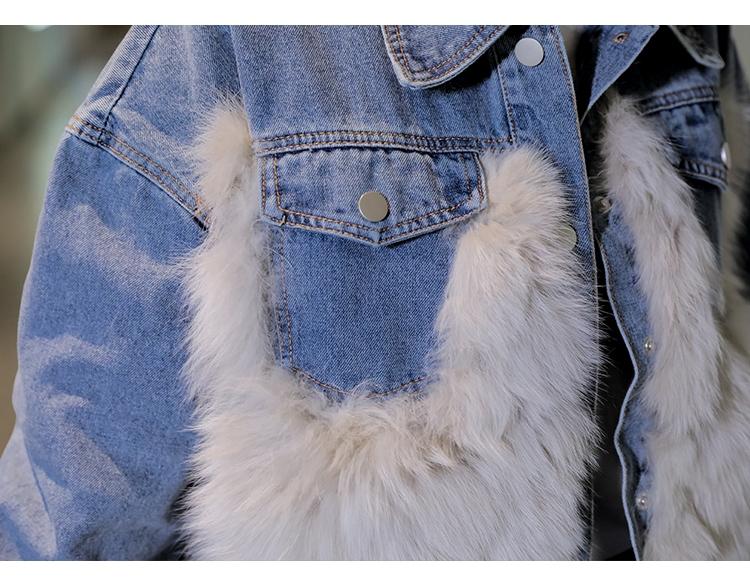 韓国 ファッション アウター ブルゾン 秋 冬 カジュアル PTXL552  デニム エコファー ドッキング オーバーサイズ オルチャン シンプル 定番 セレカジの写真15枚目
