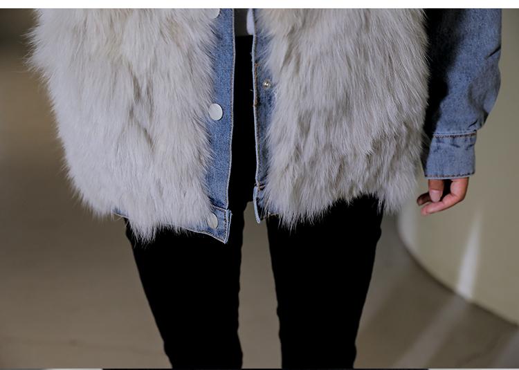 韓国 ファッション アウター ブルゾン 秋 冬 カジュアル PTXL552  デニム エコファー ドッキング オーバーサイズ オルチャン シンプル 定番 セレカジの写真16枚目