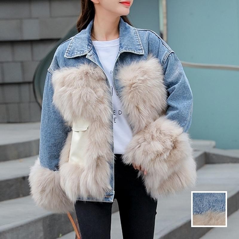 韓国 ファッション アウター ブルゾン 秋 冬 カジュアル PTXL553  オーバーサイズ デニム エコファー ドッキング オルチャン シンプル 定番 セレカジの写真1枚目