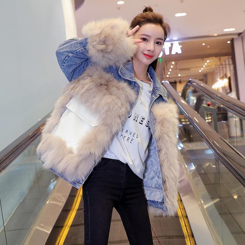 韓国 ファッション アウター ブルゾン 秋 冬 カジュアル PTXL553  オーバーサイズ デニム エコファー ドッキング オルチャン シンプル 定番 セレカジの写真2枚目