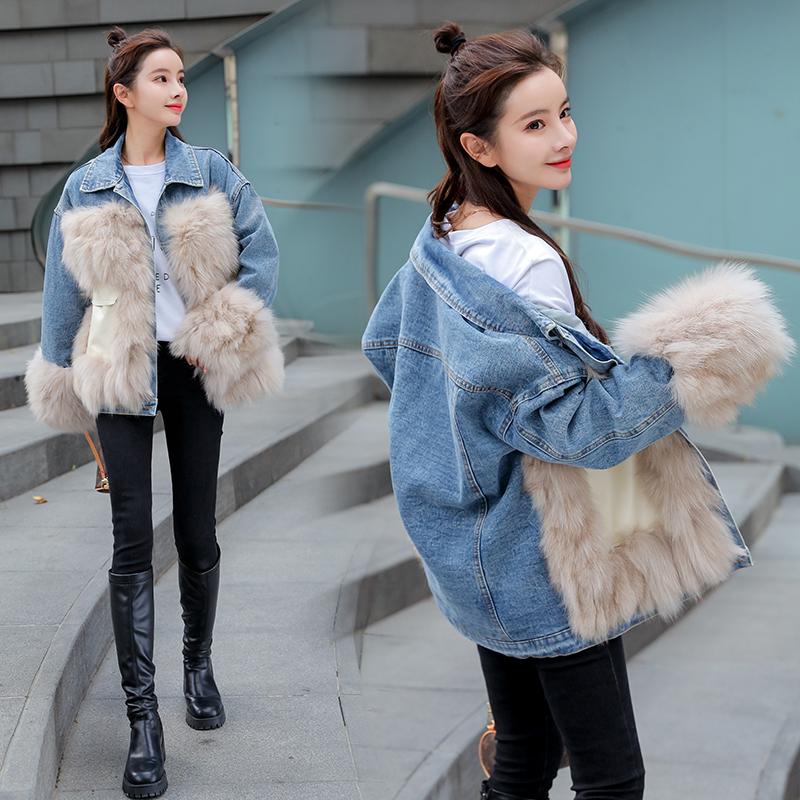 韓国 ファッション アウター ブルゾン 秋 冬 カジュアル PTXL553  オーバーサイズ デニム エコファー ドッキング オルチャン シンプル 定番 セレカジの写真4枚目