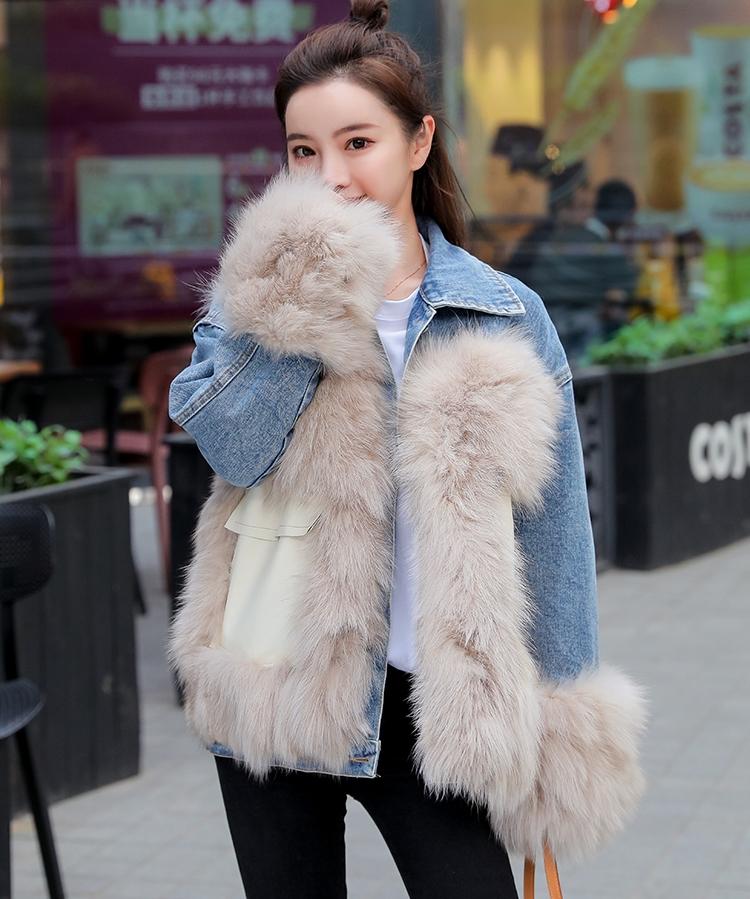 韓国 ファッション アウター ブルゾン 秋 冬 カジュアル PTXL553  オーバーサイズ デニム エコファー ドッキング オルチャン シンプル 定番 セレカジの写真7枚目