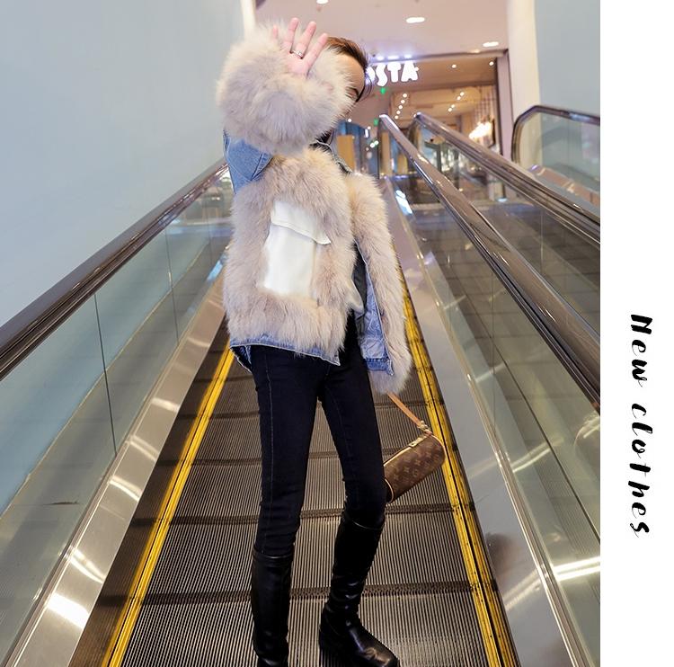 韓国 ファッション アウター ブルゾン 秋 冬 カジュアル PTXL553  オーバーサイズ デニム エコファー ドッキング オルチャン シンプル 定番 セレカジの写真9枚目