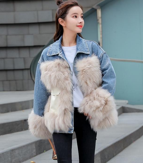 韓国 ファッション アウター ブルゾン 秋 冬 カジュアル PTXL553  オーバーサイズ デニム エコファー ドッキング オルチャン シンプル 定番 セレカジの写真11枚目