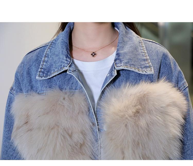 韓国 ファッション アウター ブルゾン 秋 冬 カジュアル PTXL553  オーバーサイズ デニム エコファー ドッキング オルチャン シンプル 定番 セレカジの写真12枚目