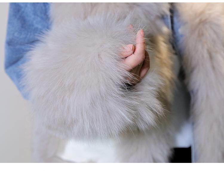韓国 ファッション アウター ブルゾン 秋 冬 カジュアル PTXL553  オーバーサイズ デニム エコファー ドッキング オルチャン シンプル 定番 セレカジの写真14枚目