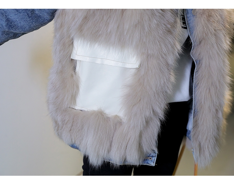 韓国 ファッション アウター ブルゾン 秋 冬 カジュアル PTXL553  オーバーサイズ デニム エコファー ドッキング オルチャン シンプル 定番 セレカジの写真15枚目