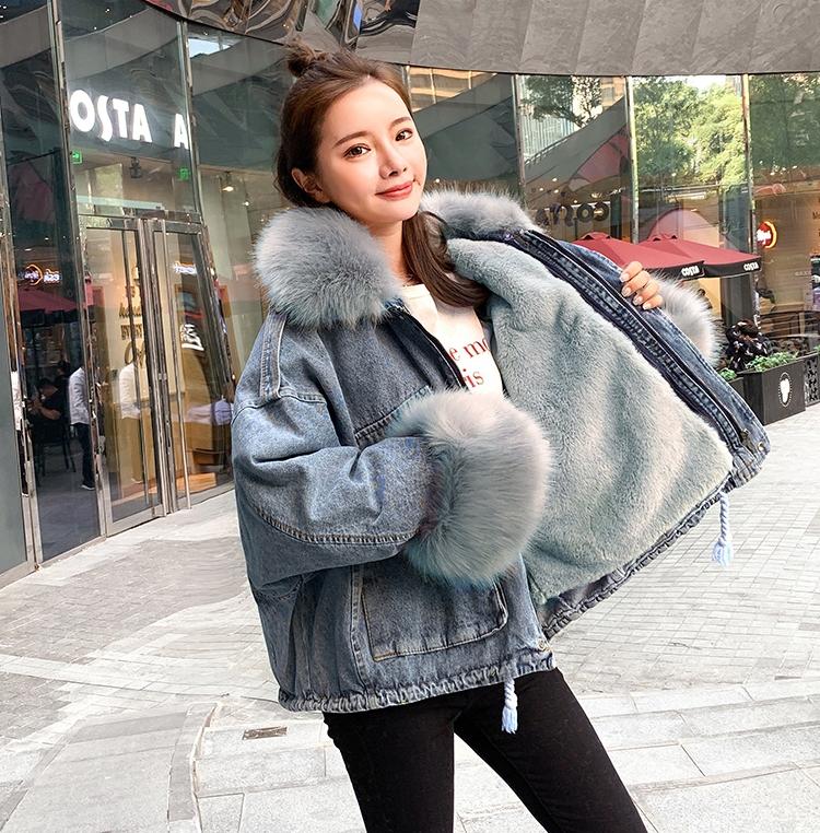 韓国 ファッション アウター ブルゾン 秋 冬 カジュアル PTXL554  ビッグシルエット もこもこ エコファー デニム オルチャン シンプル 定番 セレカジの写真4枚目