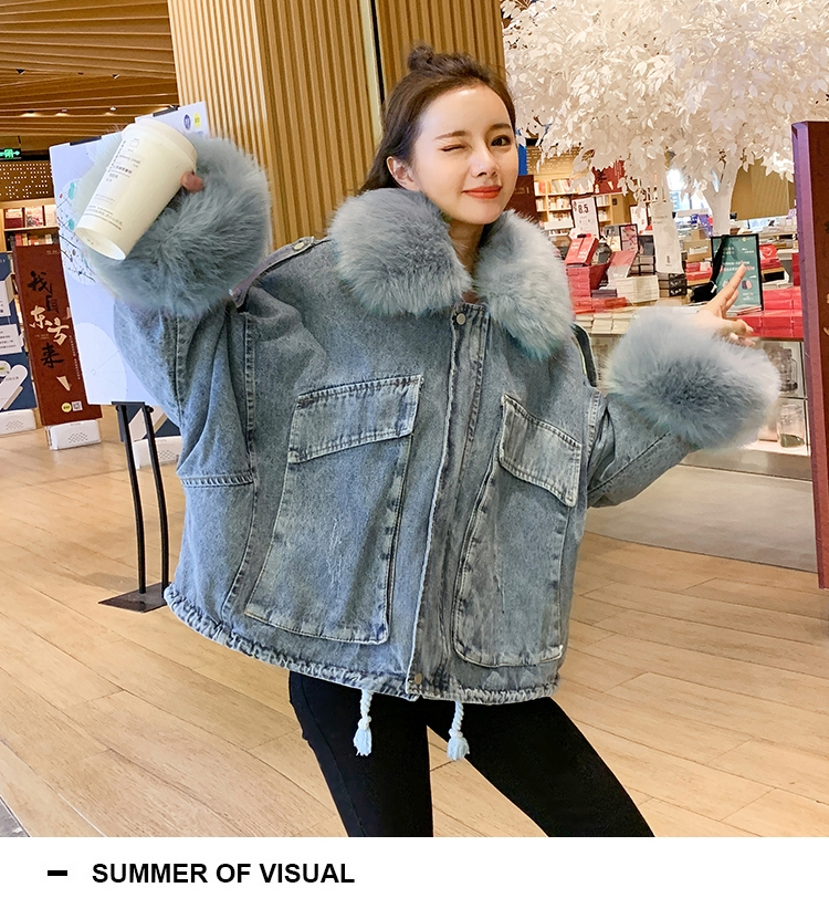 韓国 ファッション アウター ブルゾン 秋 冬 カジュアル PTXL554  ビッグシルエット もこもこ エコファー デニム オルチャン シンプル 定番 セレカジの写真5枚目