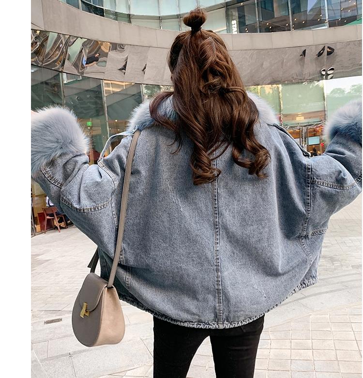 韓国 ファッション アウター ブルゾン 秋 冬 カジュアル PTXL554  ビッグシルエット もこもこ エコファー デニム オルチャン シンプル 定番 セレカジの写真6枚目