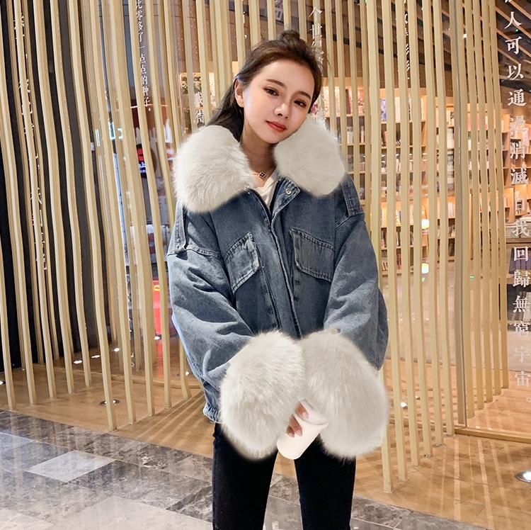 韓国 ファッション アウター ブルゾン 秋 冬 カジュアル PTXL554  ビッグシルエット もこもこ エコファー デニム オルチャン シンプル 定番 セレカジの写真7枚目