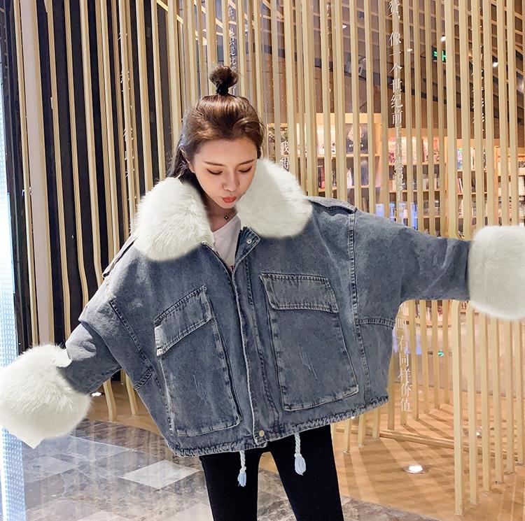 韓国 ファッション アウター ブルゾン 秋 冬 カジュアル PTXL554  ビッグシルエット もこもこ エコファー デニム オルチャン シンプル 定番 セレカジの写真8枚目