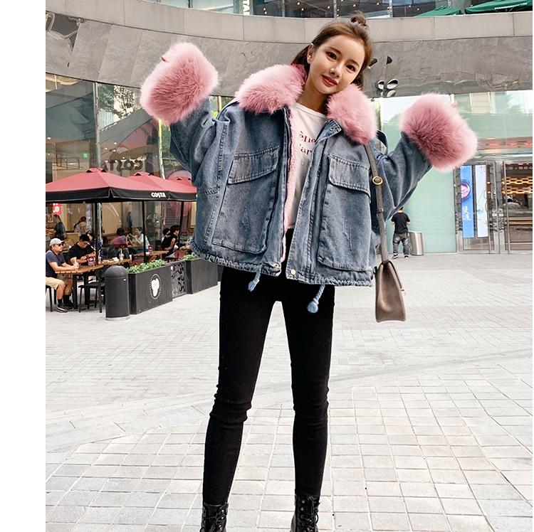 韓国 ファッション アウター ブルゾン 秋 冬 カジュアル PTXL554  ビッグシルエット もこもこ エコファー デニム オルチャン シンプル 定番 セレカジの写真10枚目