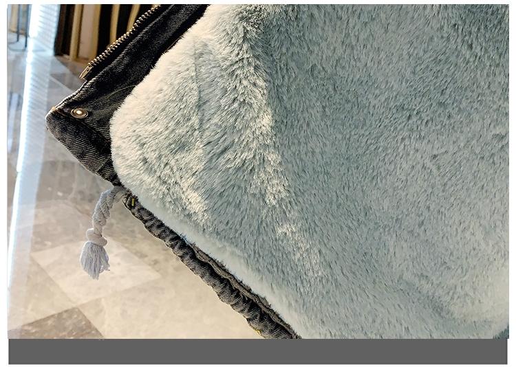 韓国 ファッション アウター ブルゾン 秋 冬 カジュアル PTXL554  ビッグシルエット もこもこ エコファー デニム オルチャン シンプル 定番 セレカジの写真12枚目