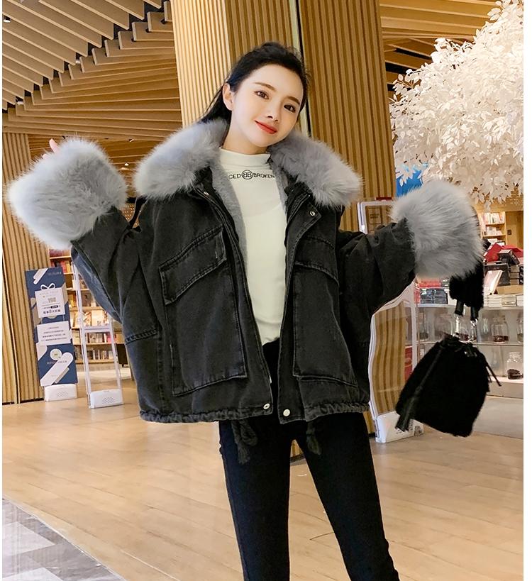 韓国 ファッション アウター ブルゾン 秋 冬 カジュアル PTXL554  ビッグシルエット もこもこ エコファー デニム オルチャン シンプル 定番 セレカジの写真13枚目