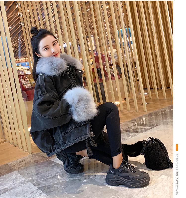 韓国 ファッション アウター ブルゾン 秋 冬 カジュアル PTXL554  ビッグシルエット もこもこ エコファー デニム オルチャン シンプル 定番 セレカジの写真14枚目