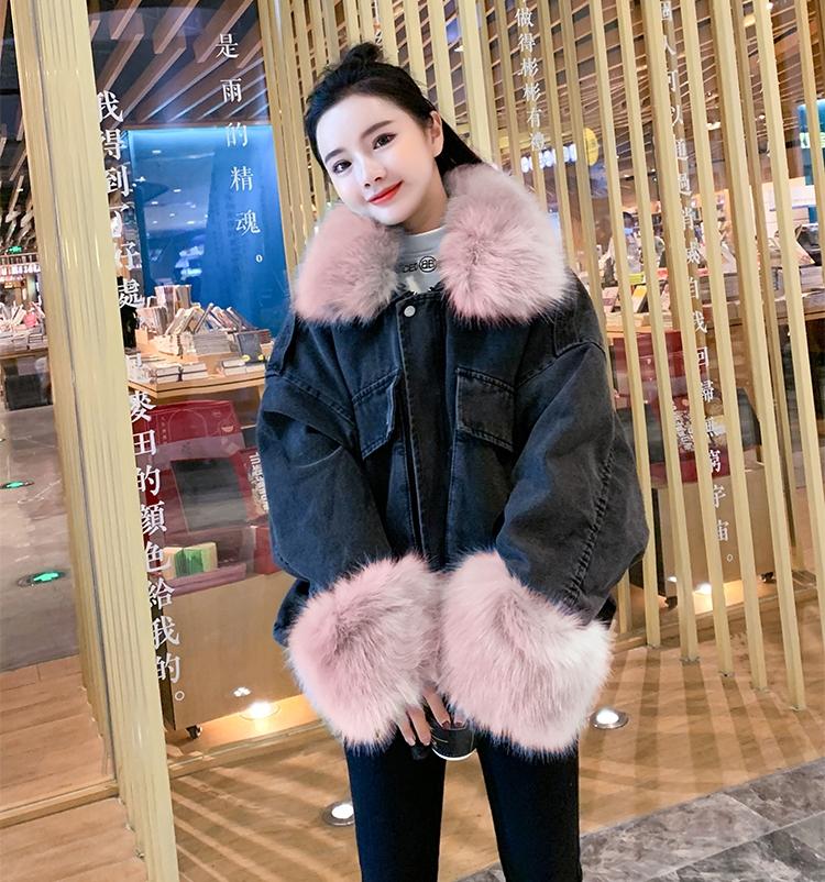 韓国 ファッション アウター ブルゾン 秋 冬 カジュアル PTXL554  ビッグシルエット もこもこ エコファー デニム オルチャン シンプル 定番 セレカジの写真16枚目