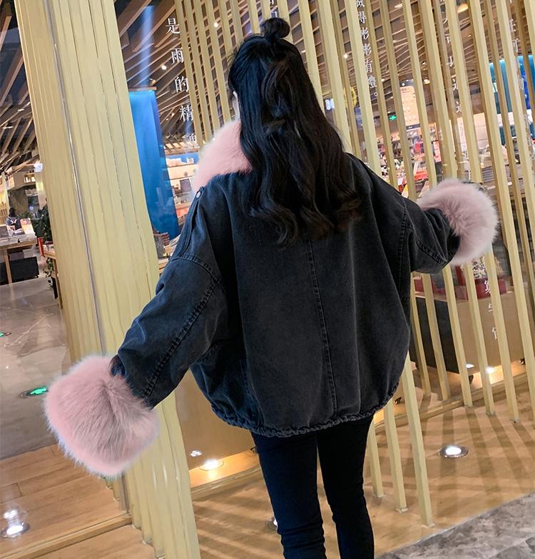 韓国 ファッション アウター ブルゾン 秋 冬 カジュアル PTXL554  ビッグシルエット もこもこ エコファー デニム オルチャン シンプル 定番 セレカジの写真17枚目