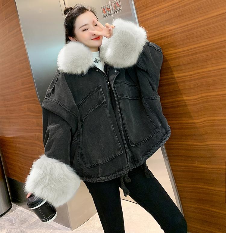 韓国 ファッション アウター ブルゾン 秋 冬 カジュアル PTXL554  ビッグシルエット もこもこ エコファー デニム オルチャン シンプル 定番 セレカジの写真18枚目