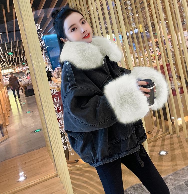 韓国 ファッション アウター ブルゾン 秋 冬 カジュアル PTXL554  ビッグシルエット もこもこ エコファー デニム オルチャン シンプル 定番 セレカジの写真19枚目